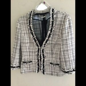 Fully lined blazer with fringe details